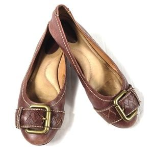 Fossil Brown Leather Buckle Toe Ballet Flats 9.5M